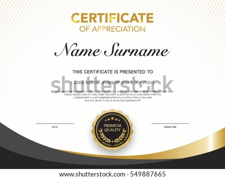 Diploma Certificate Template Black And Gold Color With Luxury And Modern  Style Vector Image.  Certificate Of Donation Template