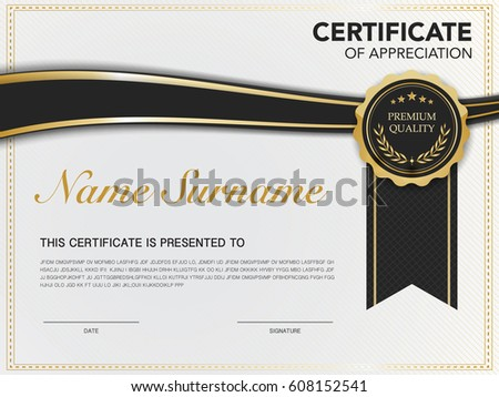 Royalty Free Gold Black Certificate Template Design 423461089 Stock
