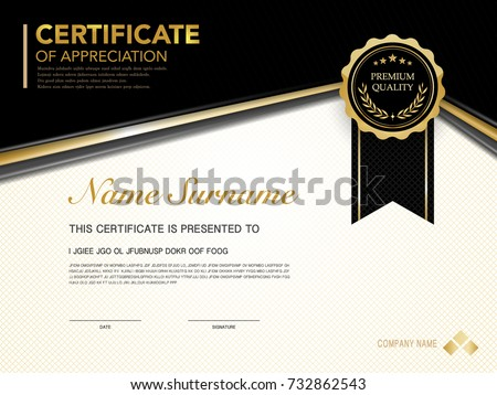 Black And Gold Certificate Download Free Vector Art Stock