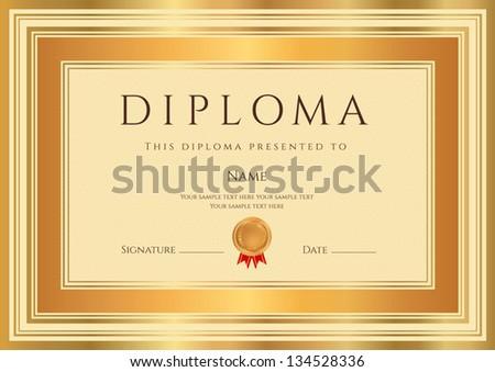 Elegant Gold Diploma Template Download Free Vector Art Stock
