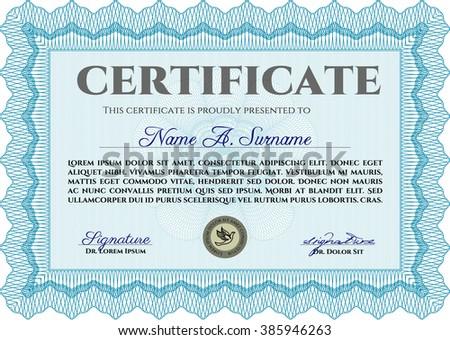 Diploma. Excellent design. With background. Border, frame. Light blue color.