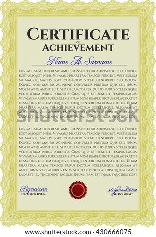 Diploma. Excellent design. With background. Border, frame. Yellow color.