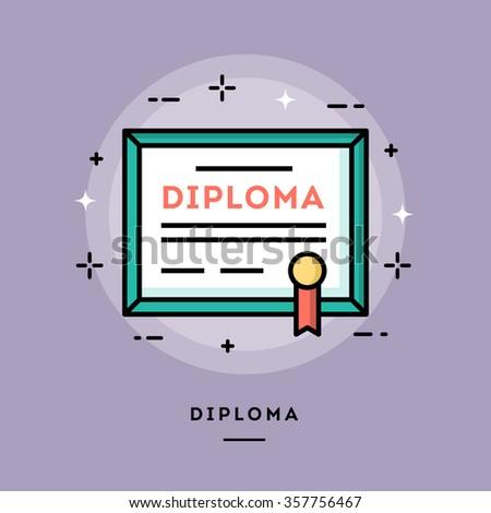 diploma  flat design thin line