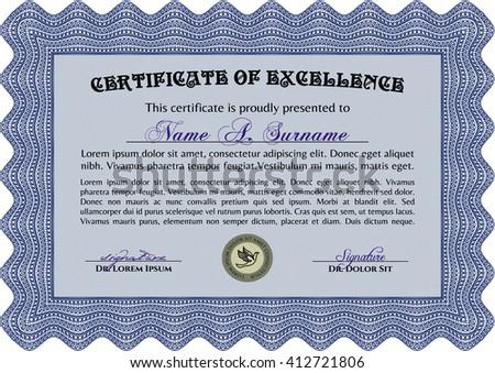 Diploma. Good design. With background. Border, frame. Blue color.
