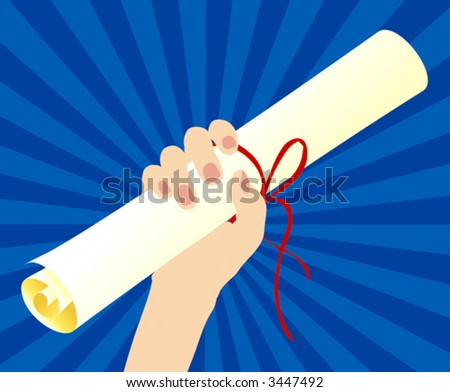diploma in hand - stock vector
