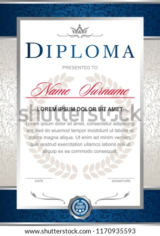 Diploma in the official, solemn, elegant, Royal style in blue and silver tones, with the image of the crown