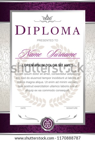 Diploma in the official, solemn, elegant, Royal style in violet, marsala, purple and silver tones, with the image of the crown