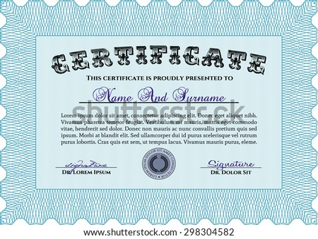 Diploma or certificate template. Border, frame.Good design. With complex linear background.
