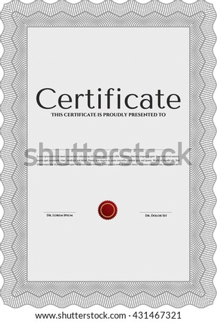 Diploma or certificate template. Complex background. Vector pattern that is used in currency and diplomas.Superior design. Grey color.