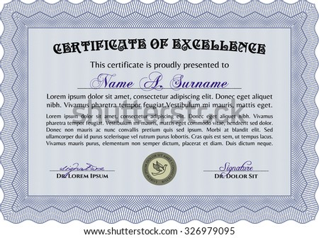 Diploma or certificate template. Cordial design. Printer friendly. Vector pattern that is used in currency and diplomas.