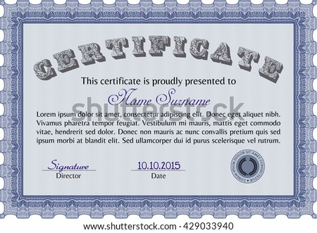 Diploma or certificate template. Superior design. Vector pattern that is used in currency and diplomas.Complex background. Blue color.