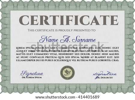 Diploma or certificate template. Vector illustration. Lovely design. With complex background. Green color.