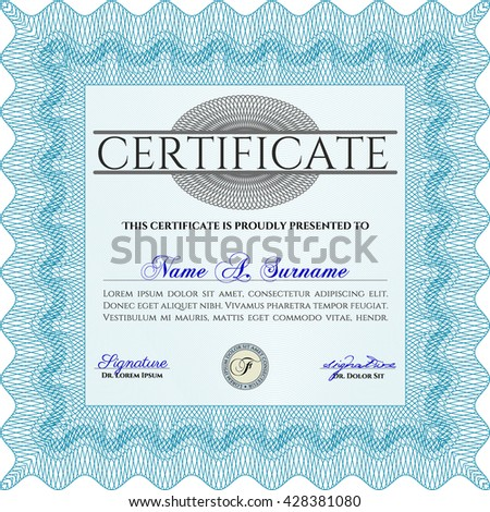 Diploma or certificate template. Vector illustration. Lovely design. With complex background. Light blue color.