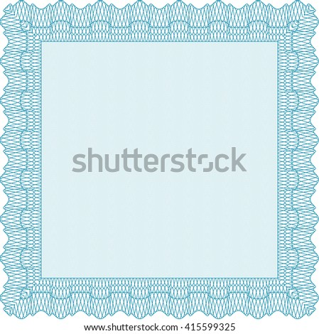 Diploma or certificate template. Vector illustration. With complex background. Lovely design. Light blue color.
