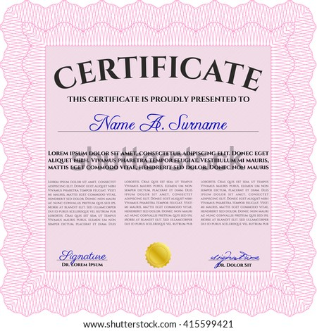 Diploma or certificate template. Vector illustration. With complex background. Lovely design. Pink color.