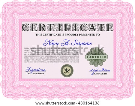 Diploma or certificate template. Vector pattern that is used in currency and diplomas.Complex background. Superior design. Pink color.