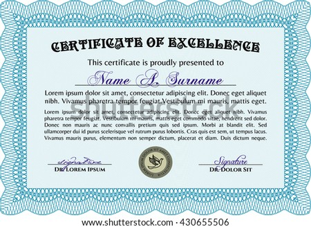 Diploma or certificate template. Vector pattern that is used in currency and diplomas.Complex background. Superior design. Light blue color.