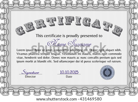Diploma or certificate template. Vector pattern that is used in currency and diplomas.Complex background. Superior design. Grey color.