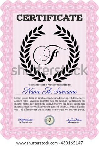 Diploma or certificate template. Vector pattern that is used in currency and diplomas.Superior design. Complex background. Pink color.