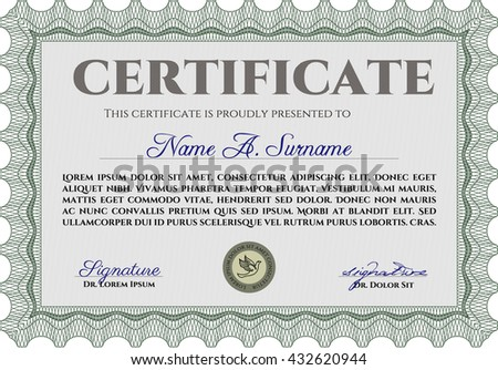 Diploma or certificate template. Vector pattern that is used in currency and diplomas.Superior design. Complex background. Green color.