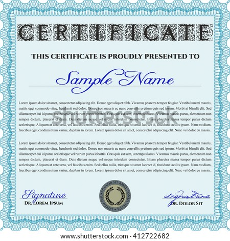 Diploma or certificate template. With complex background. Lovely design. Vector illustration. Light blue color.