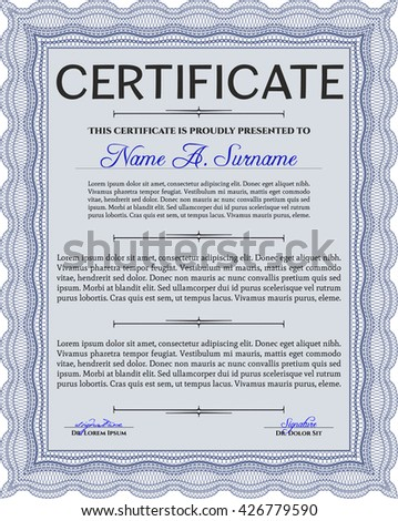Diploma or certificate template. With complex background. Vector illustration. Lovely design. Blue color.