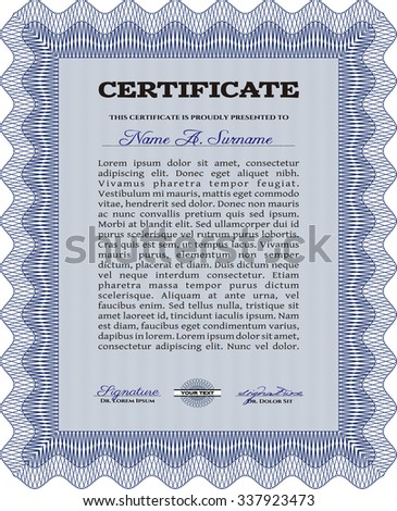 Diploma or certificate template. With complex linear background. Diploma of completion.Elegant design.