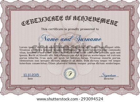 Diploma or certificate template. With great quality guilloche pattern. Vector pattern that is used in money and certificate.Lovely design.