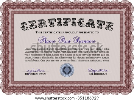 Diploma or certificate template. With guilloche pattern. Vector pattern that is used in money and certificate.Artistry design.