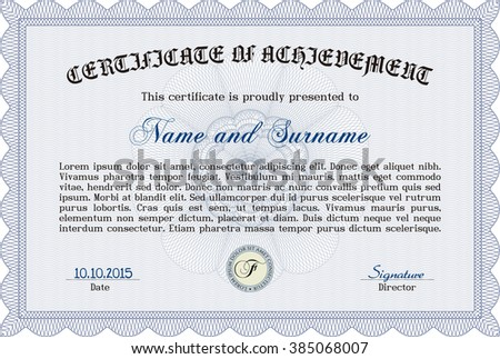 Diploma template. Border, frame. With background. Excellent design. Blue color.