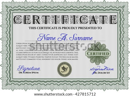 Diploma template. Excellent design. With background. Border, frame. Green color.