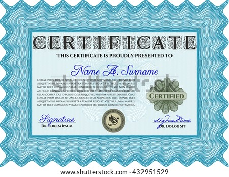 Diploma template. Excellent design. With complex background. Vector illustration. Light blue color.