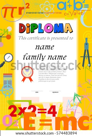 Diploma template for kids, certificate background from scientific formulas. Mathematics, physics, chemistry. Flat icon concept vector illustration collection