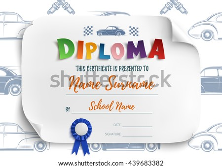 Diploma Template For Kids, Certificate Background With Racing Cars For  School, Preschool Or Playschool