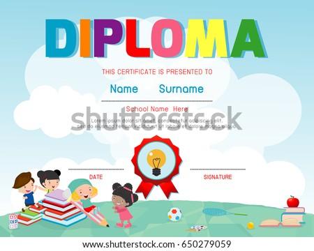 vector kindergarten diploma download free vector art stock
