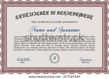 Diploma template. Frame certificate template Vector.With linear background. Good design.