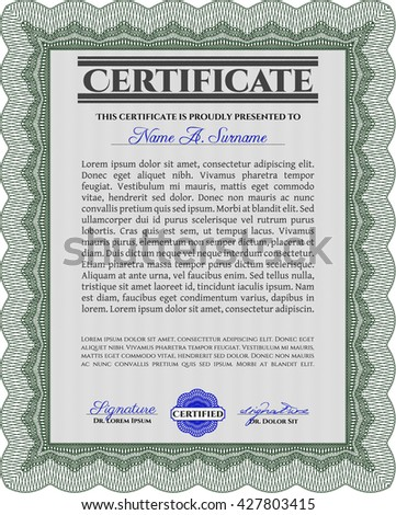 Diploma template. Lovely design. With complex background. Vector illustration. Green color.