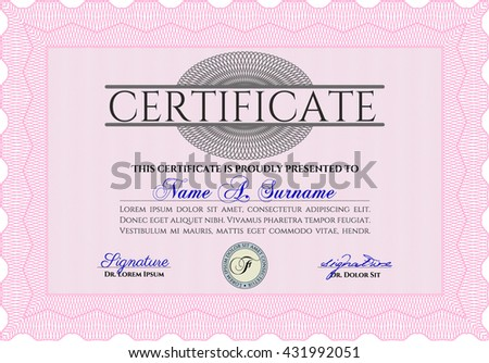 Diploma template or certificate template. Artistry design. With quality background. Vector pattern that is used in money and certificate. Pink color.