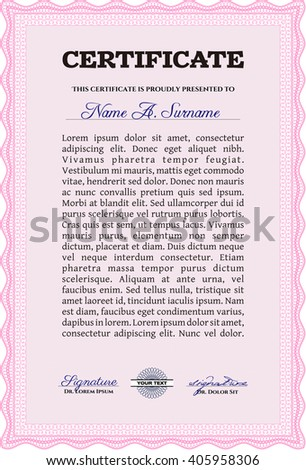Diploma template or certificate template. Beauty design. Vector pattern that is used in money and certificate. With quality background. Pink color.