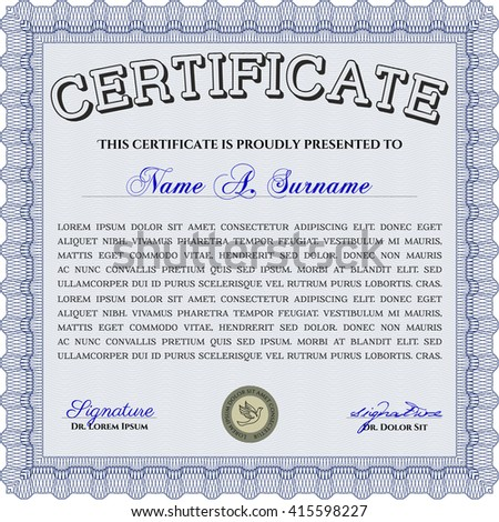 Diploma template or certificate template. Beauty design. With quality background. Vector pattern that is used in money and certificate. Blue color.