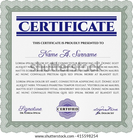 Diploma template or certificate template. Beauty design. With quality background. Vector pattern that is used in money and certificate. Green color.
