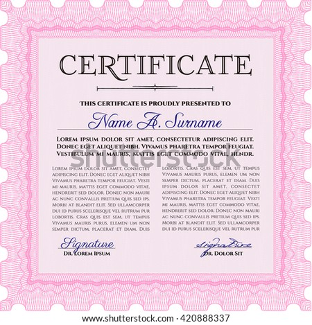 Diploma template or certificate template. Beauty design. With quality background. Vector pattern that is used in money and certificate. Pink color.