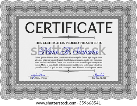 Diploma template or certificate template. Border, frame.With linear background. Beauty design.