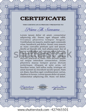 Diploma template or certificate template. Complex background. Beauty design. Vector pattern that is used in currency and diplomas.Blue color.