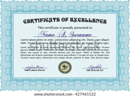 Diploma template or certificate template. Complex background. Beauty design. Vector pattern that is used in currency and diplomas.Light blue color.