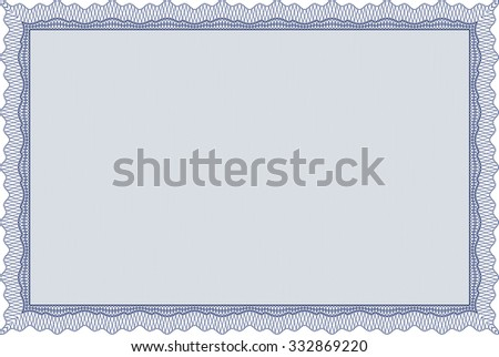 Diploma template or certificate template. Diploma of completion.Good design. With guilloche pattern.