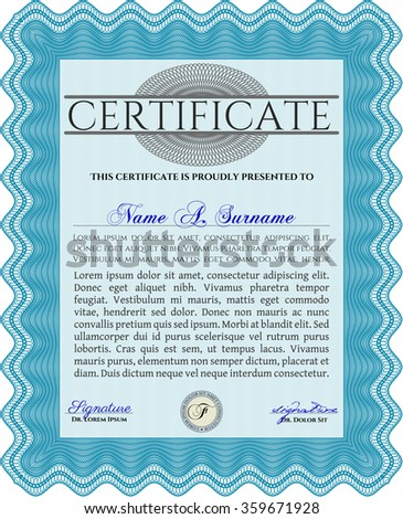 Diploma template or certificate template. Excellent design. With complex background. Vector certificate template.