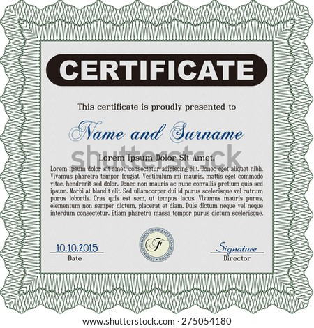 Diploma template or certificate template. Frame certificate template Vector.With complex background. Superior design.