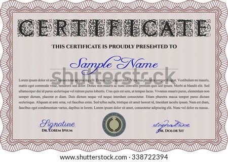 Diploma template or certificate template. Modern design. Customizable, Easy to edit and change colors.With guilloche pattern.