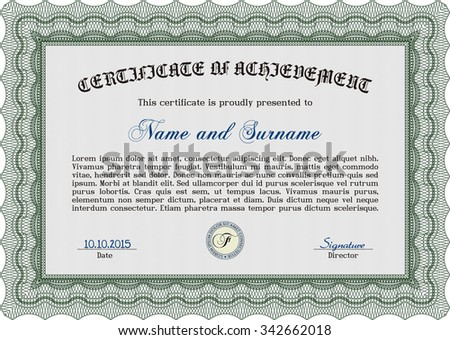 Diploma template or certificate template. Retro design. With quality background. Vector certificate template.